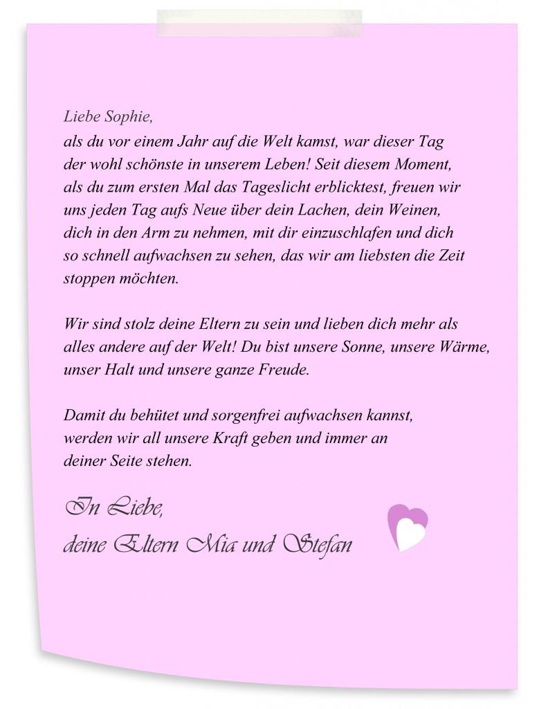 """Gewinnspiel """"Brief an Sophie"""""""