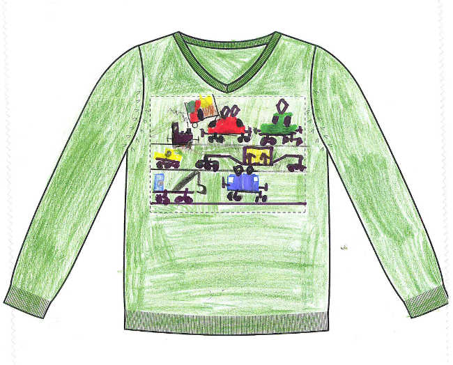 Skizze des Gewinnerpullovers des Junior Stylist Wettbewerbs