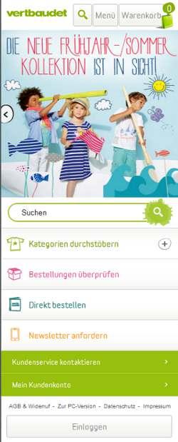 Ansicht der neuen mobilen Website von Vertbaudet
