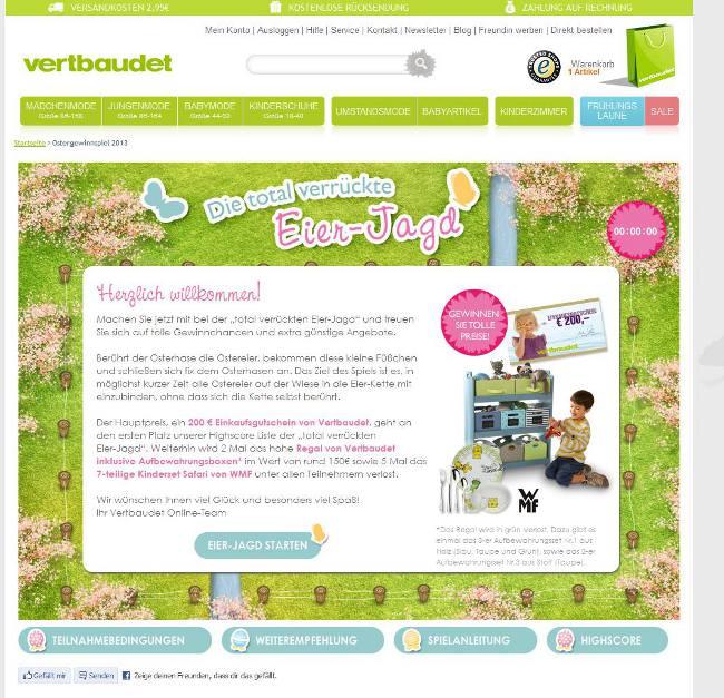 """Das Vertbaudet Ostergewinnspiel 2013 """"Die verrückte Eier-Jagd"""" - Infos und Preise"""