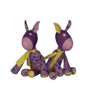Zwei schicke lilafarbene Esel zum Kuscheln