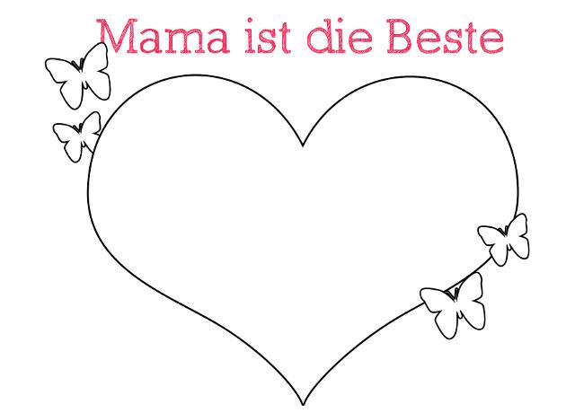 Malvorlage Muttertag mit großem Herz und Schmetterlingen
