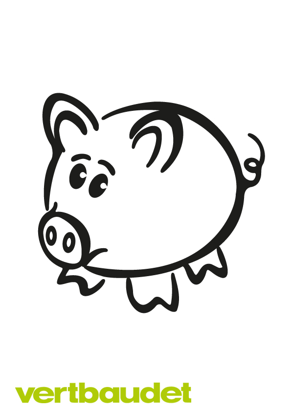 Malvorlage Schweinchen mit niedlichem Gesicht