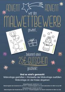 Plakat mit Weihnachtselch, Engel und Infos zum Advents-Malwettbewerb