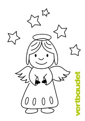 Malvorlage Engel mit Sternen zum Ausmalen