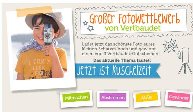 """vertbaudet Fotowettbewerb mit dem Thema """"Jetzt ist Kuschelzeit"""""""