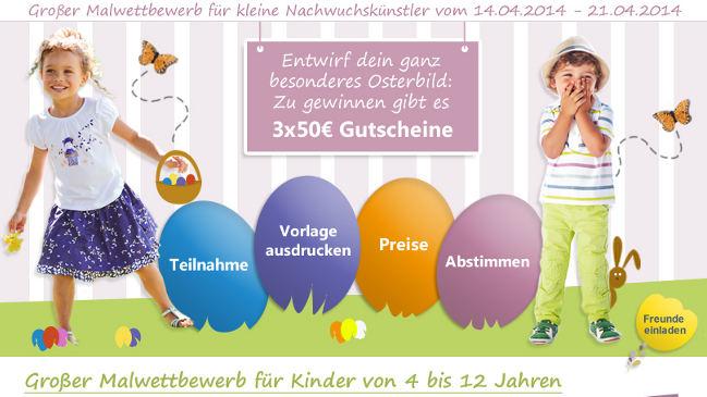 2 Kinder mit großen, farbigen Eier beim vertbaudet Oster-Malwettbewerb