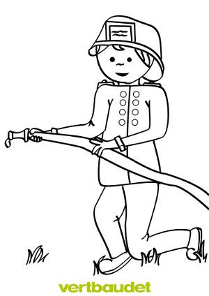 Gezeichneter Feuerwehrmann mit Löschschlauch zum Ausmalen