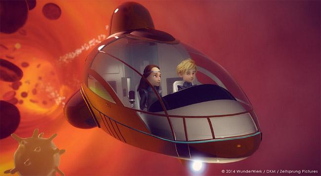 2 Kinder unterwegs im Raumschiff durch den Körper