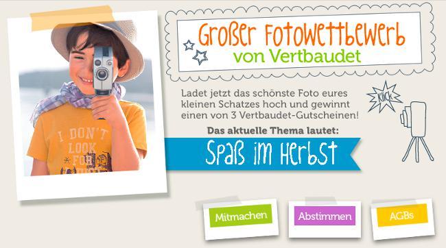 """neuer vertbaudet Fotowettbewerb im November 2014 zum Thema """"Spaß im Herbst"""""""