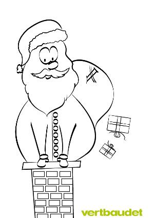 Weihnachtsmann klettert mit Geschenkesack in Kamin