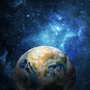 die Erde vor einem Sternenhimmel