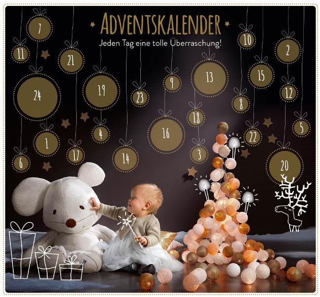 Adventskalender von vertbaudet mit Kleinkind, Kuscheltier, Deko und Kalender-Türen