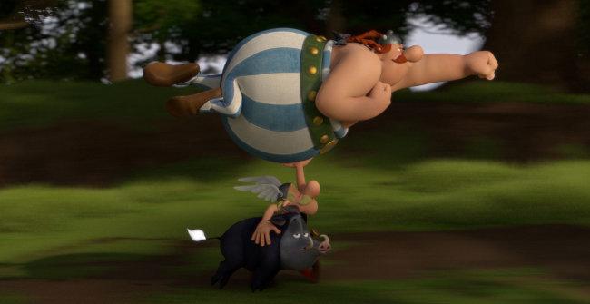 Asterix trägt Obelix und ein Wildschwein