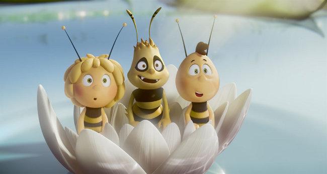3 Comic-Bienen staunen: Biene Maja, Willi und ein Freund