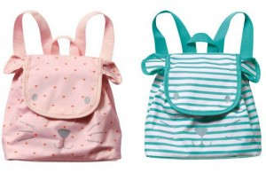 rosa und grün gestreifter Kinderrucksack