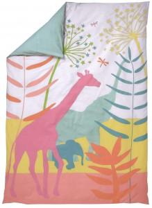 Bettbzug mit Giraffe und Safari-Motiven