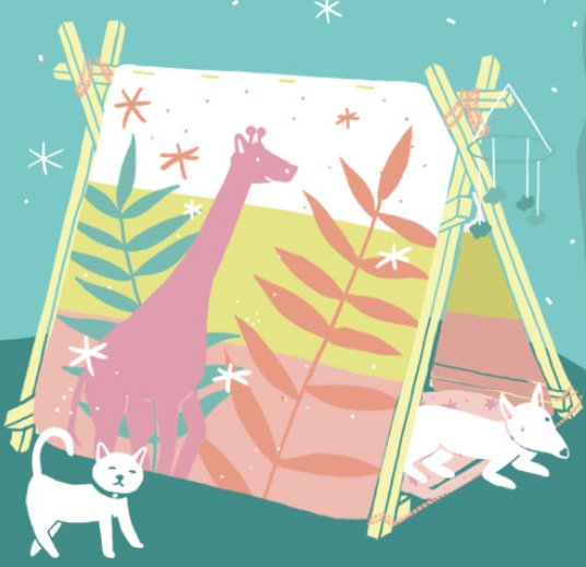 Buntes Kinderzelt mit Haustieren - Illustration