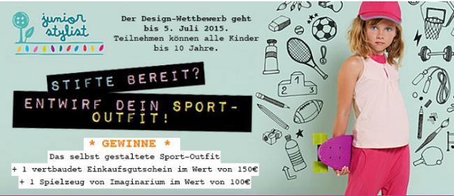 Banner zum Junior Stylist Wettbewerb mit Mädchen und Sport-Motiven