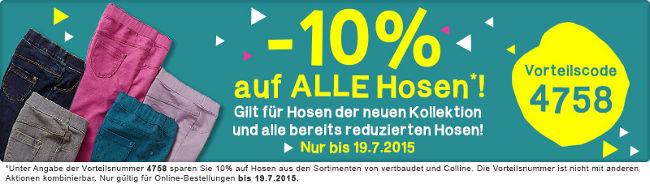 Hosenaktion bei vertbaudet - 10% Rabatt bis 19.07.2015