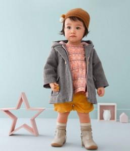 Kleines Mädchen steht mit herbstlicher Kleidung im Zimmer