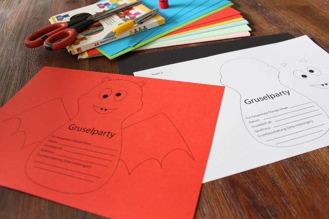 Bastelmaterialen zum Basteln von Fledermaus Einladungskarten