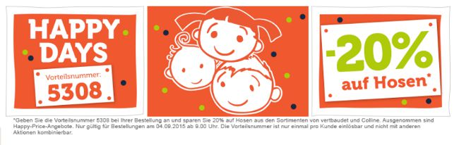 HAPPY DAYS Banner Hosen mit Vorteilsnummer