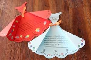 gebastelte Prinzesinnenkleider als Einladungskarten