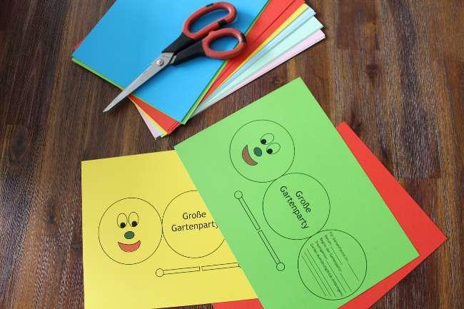 farbiges Tonpapier und Bastelutensilien