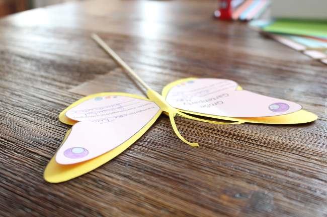 die fertige Schmetterlings-Einladungskarte