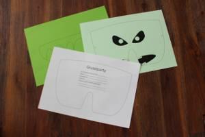 Einzelteile der Einladungskarte Gruselmaske