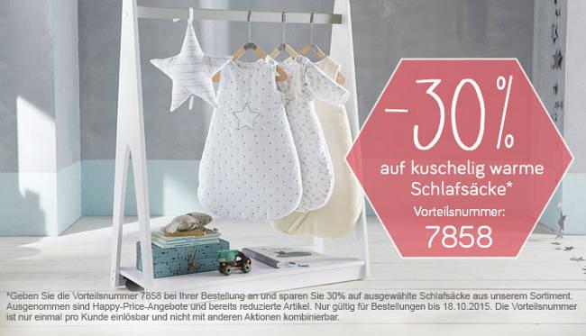 Babyschlafsäcke an der Stange - 30% Rabatt-Aktion