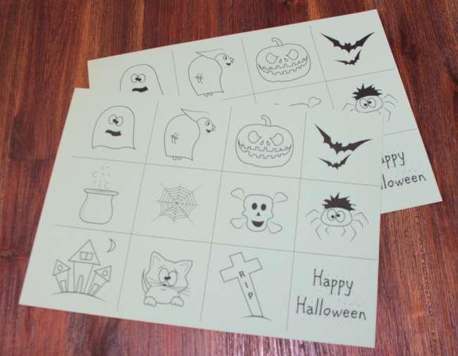2 Tonpapier mit Halloween-Memory-Motiven