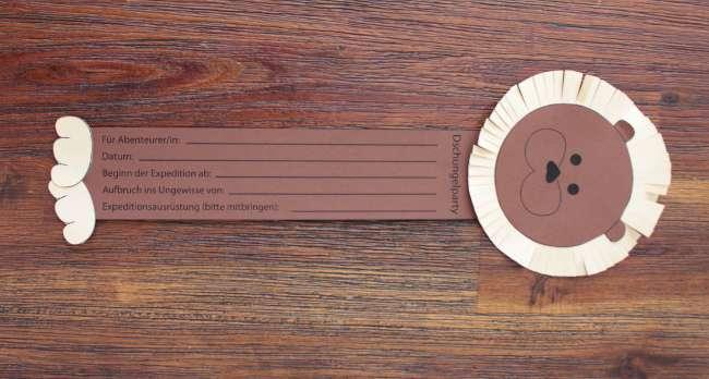 tolle l wen einladung f r die dschungelparty basteln vertbaudet blog. Black Bedroom Furniture Sets. Home Design Ideas