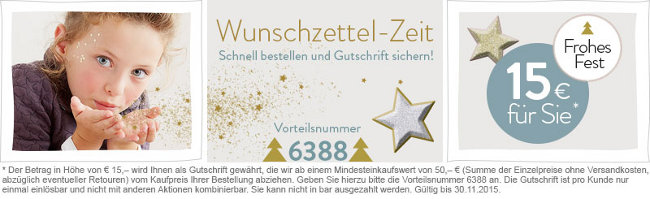 15 Euro-Weihnachtsgutschein von vertbaudet