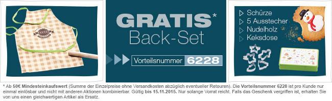 Banner mit Infos und Bildern zum gratis Backset von vertbaudet