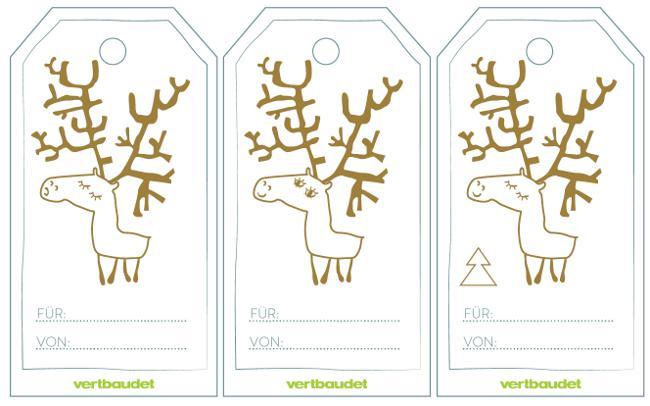 Geschenkanhänger für Weihnachten mit Elch-Motiv
