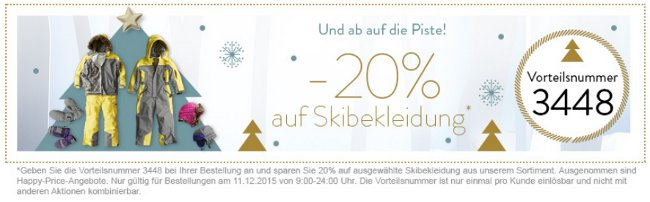 Adventskalender von vertbaudet mit 20% auf Skibekleidung