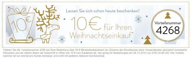 Website-Banner Adventskalender mit 10 Euro-Vorteilsnummer