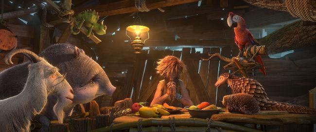 Szenenbild aus dem Animationsfilm Robinson Crusoe mit ihm und allen Tieren
