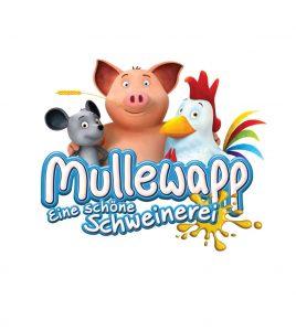 Logo zum Mullewapp-Film mit Maus, Schwein und Hahn