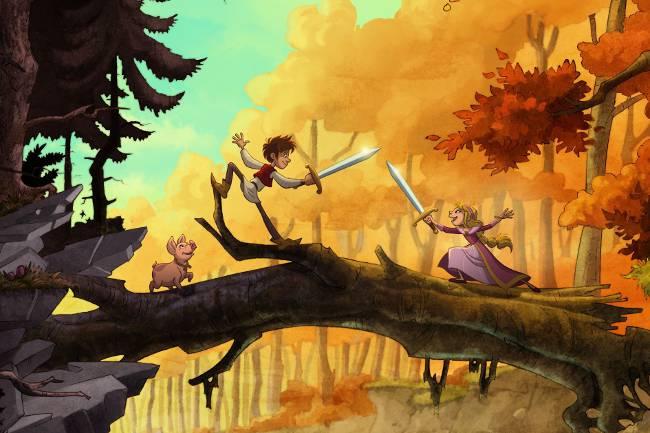 Junge und Mädchen üben Schwertkampf auf einem Baumstamm