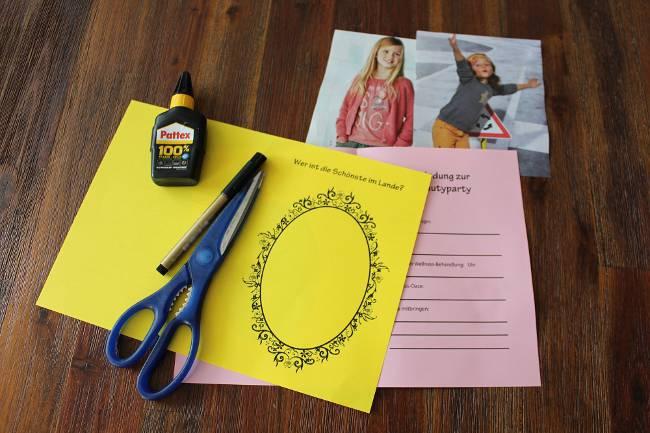 Bastelmaterial für eine Einladungskarte zur Beautyparty für Mädchen
