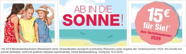 Aktionsbanner: 15 Euro Rabatt auf Sommermode sichern