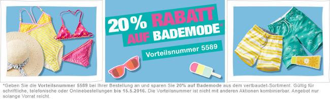 sommerlicher Banner: 20% Rabatt auf Bademode von vertbaudet