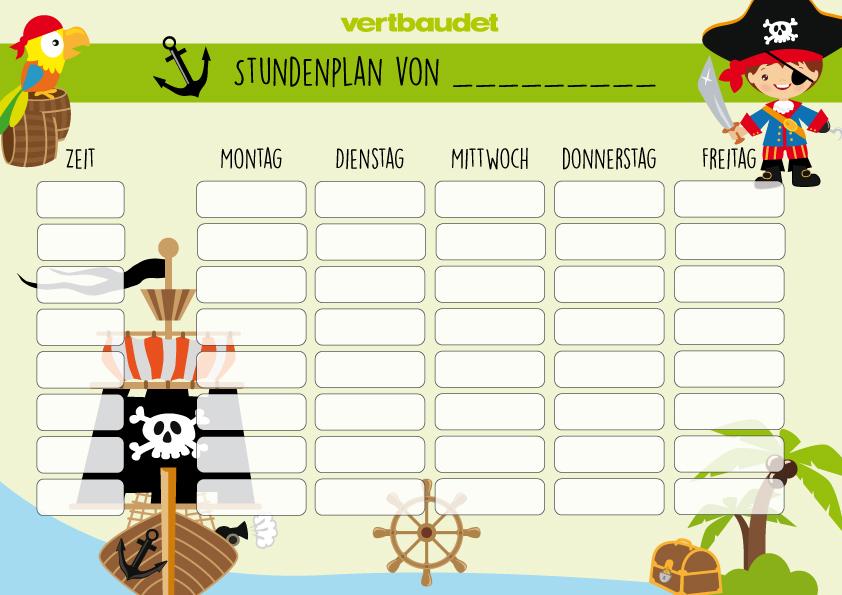 Piraten-Stundenplan mit Piratenschiff, Pirat, Schatzinsel und Papagei