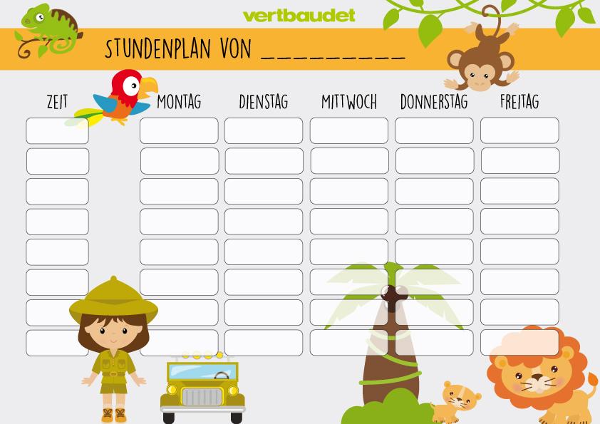 Safari-Stundenplan für Mädchen mit Safari-Motiven