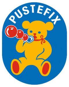 Pustefix-Logo mit Seifenblasen machendem Bär