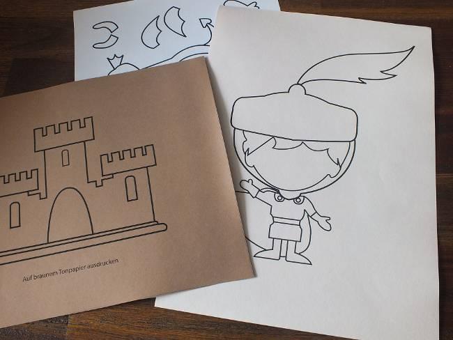die Deko-Eelemente Burg und Ritter werden ausgedruckt