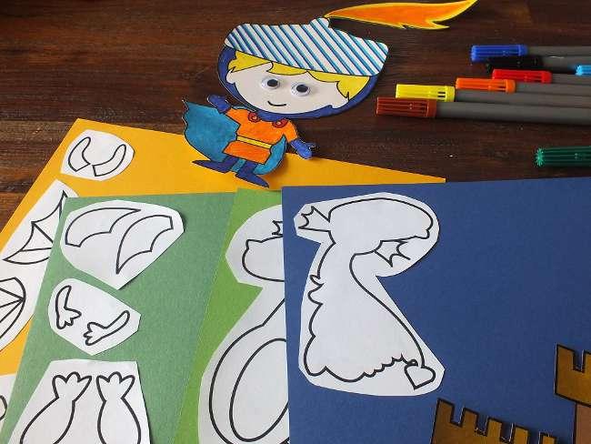 die Ritter-Deko wird auf farbiges Tonpapier geklebt
